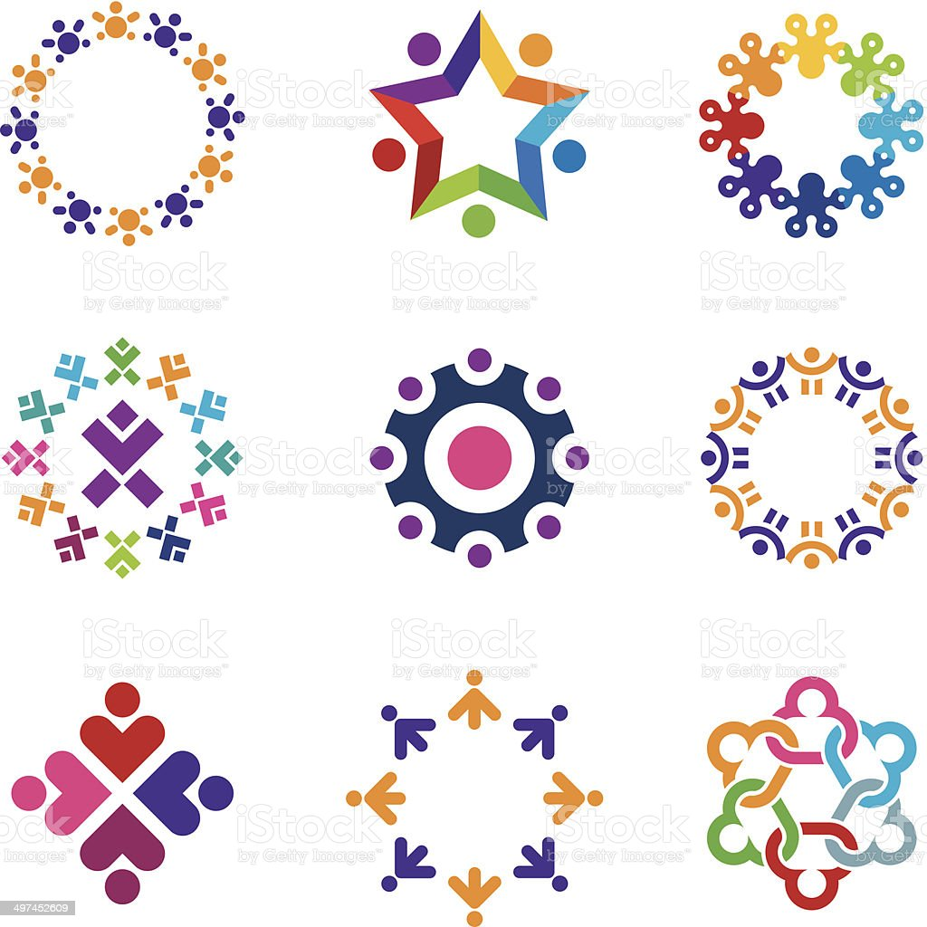 Social colorful world community people circle logo icons set vector art illustration