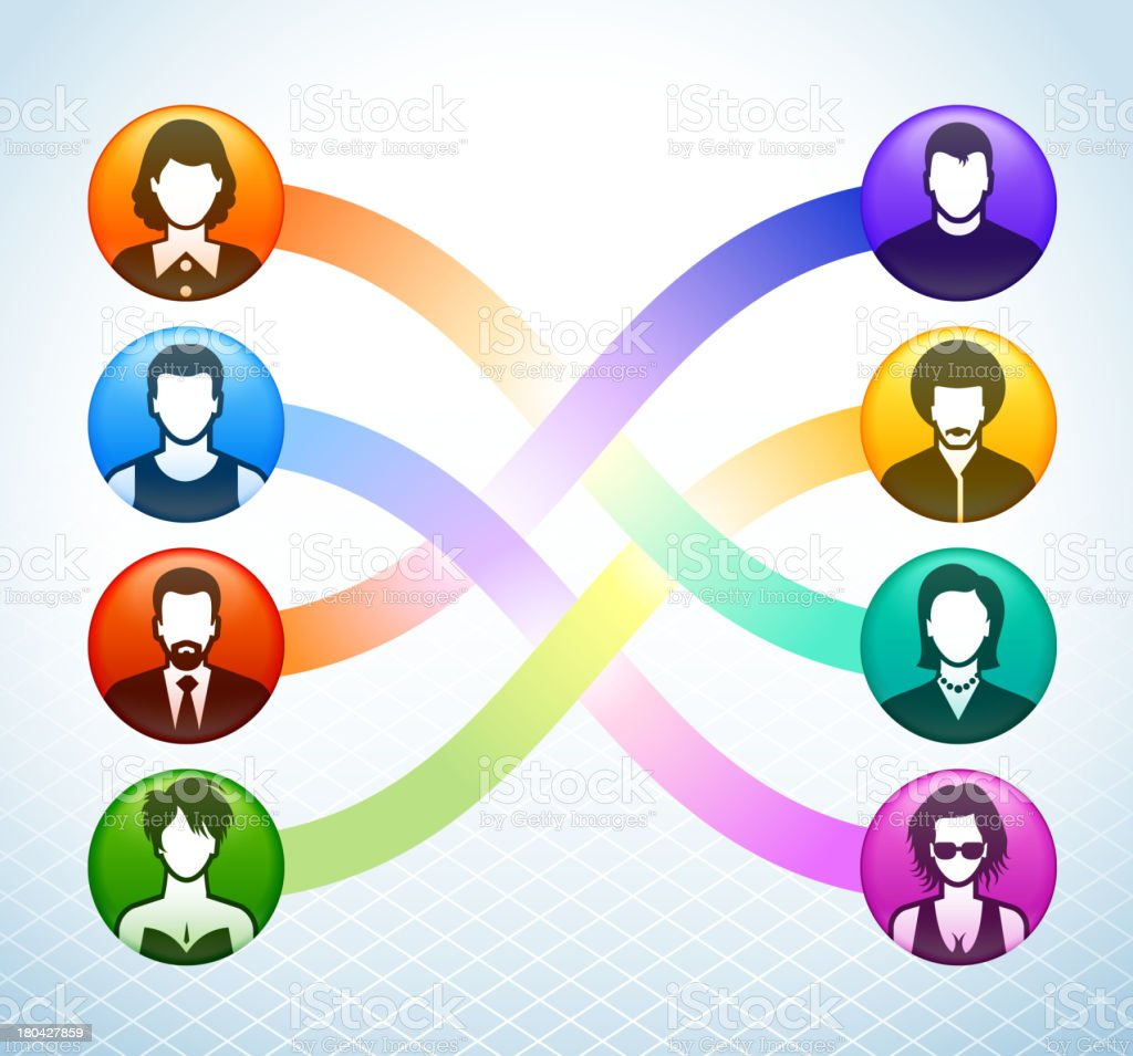 Social Communication and Networking Color Set royalty-free stock vector art