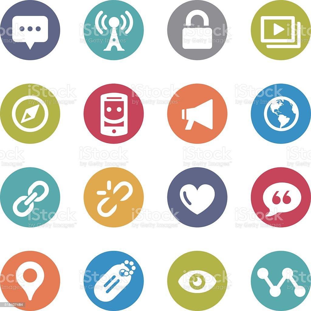 Social Communication Icons - Circle Series vector art illustration