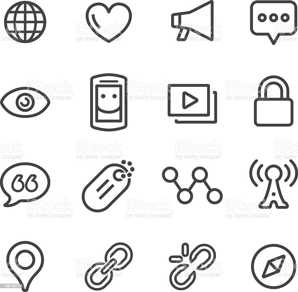 Social Communication Icons - Line Series vector art illustration