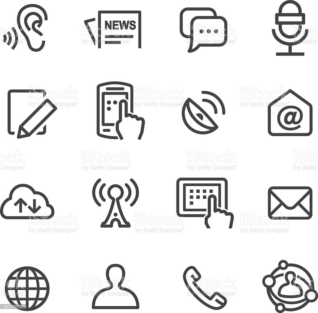 Social Communication Icons Set - Line Series vector art illustration
