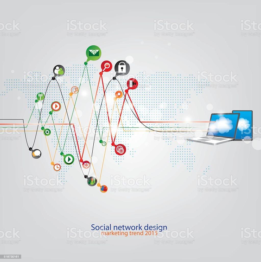 Social communication trend design vector art illustration