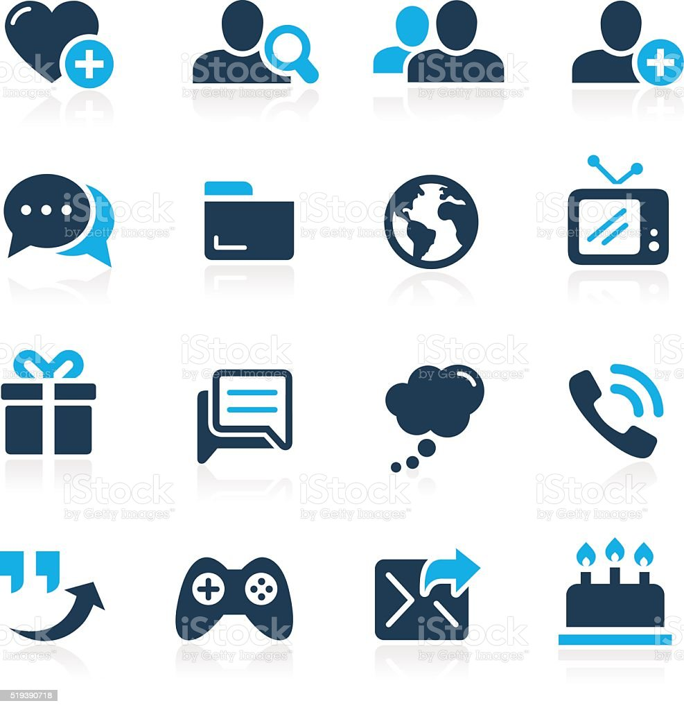 Social Communications Icons // Azure Series vector art illustration