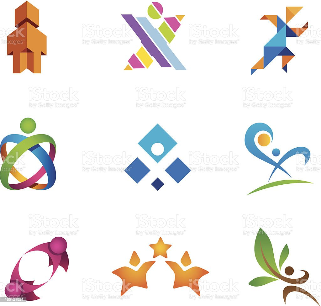 Social community people in motion logo template royalty-free stock vector art