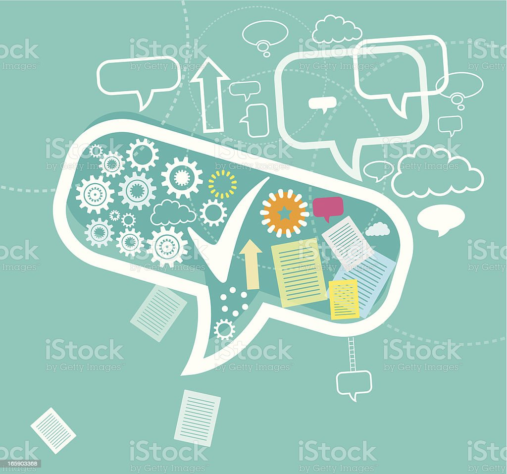 Social community with speech bubble in blue royalty-free stock vector art