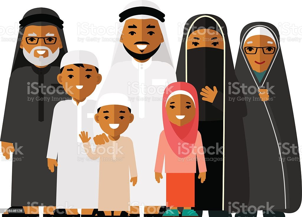 Social concept - happy muslim arabic family on white background vector art illustration