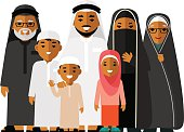 Social concept - happy muslim arabic family on white background