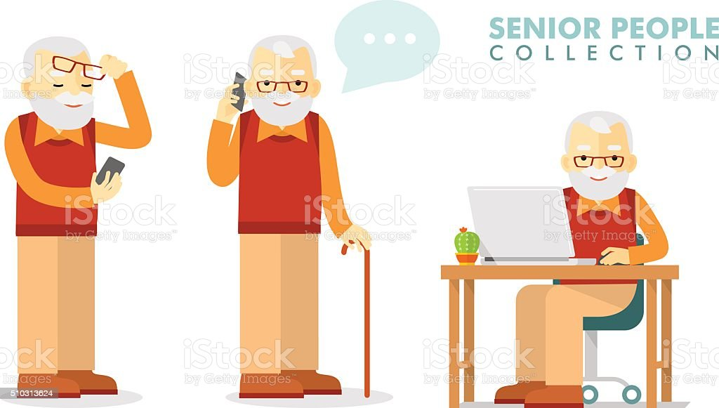 Social concept - old man using computer and mobile phone vector art illustration