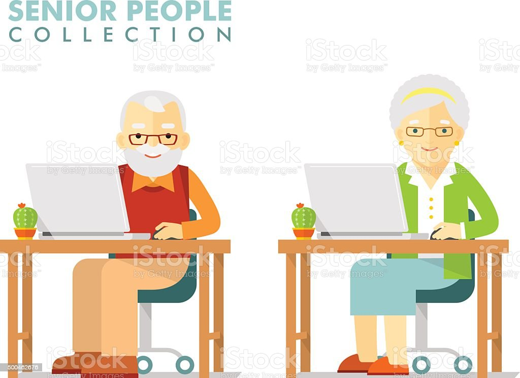 Social concept - old people using computer vector art illustration