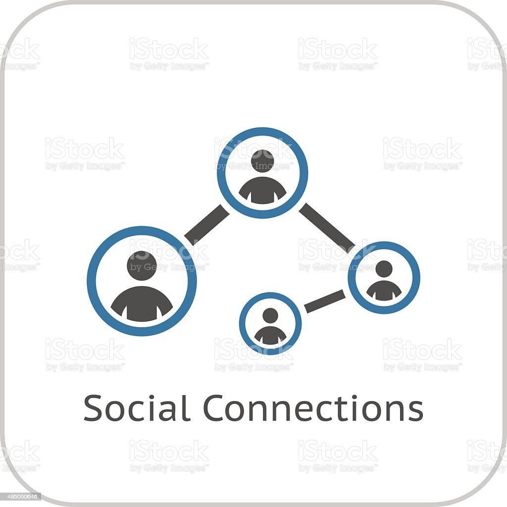 Social Connections Icon. Flat Design. vector art illustration