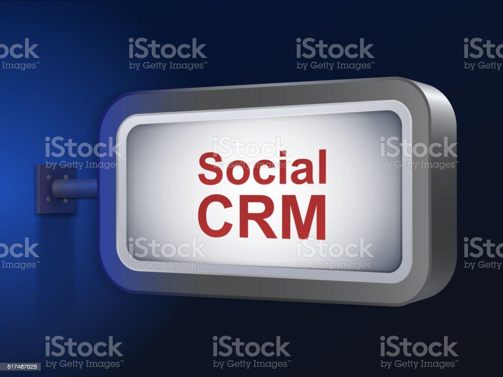 social CRM words on billboard vector art illustration