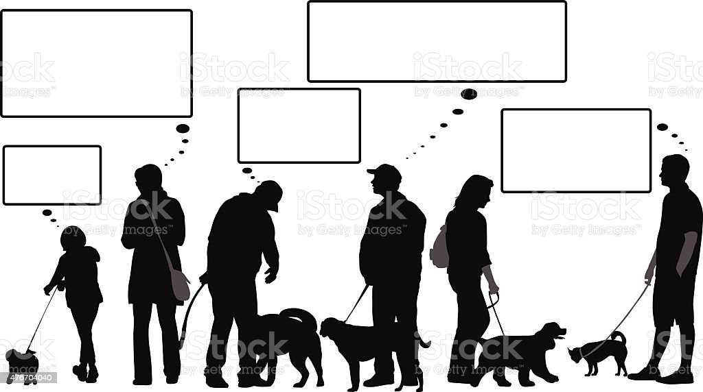 Social Dog Owners Thinking Bubbles vector art illustration