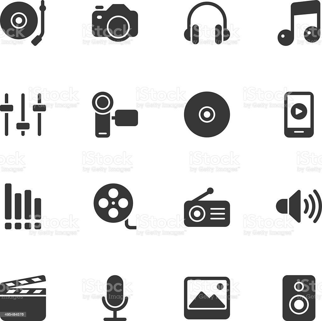 Social Entertainment icons - Regular vector art illustration