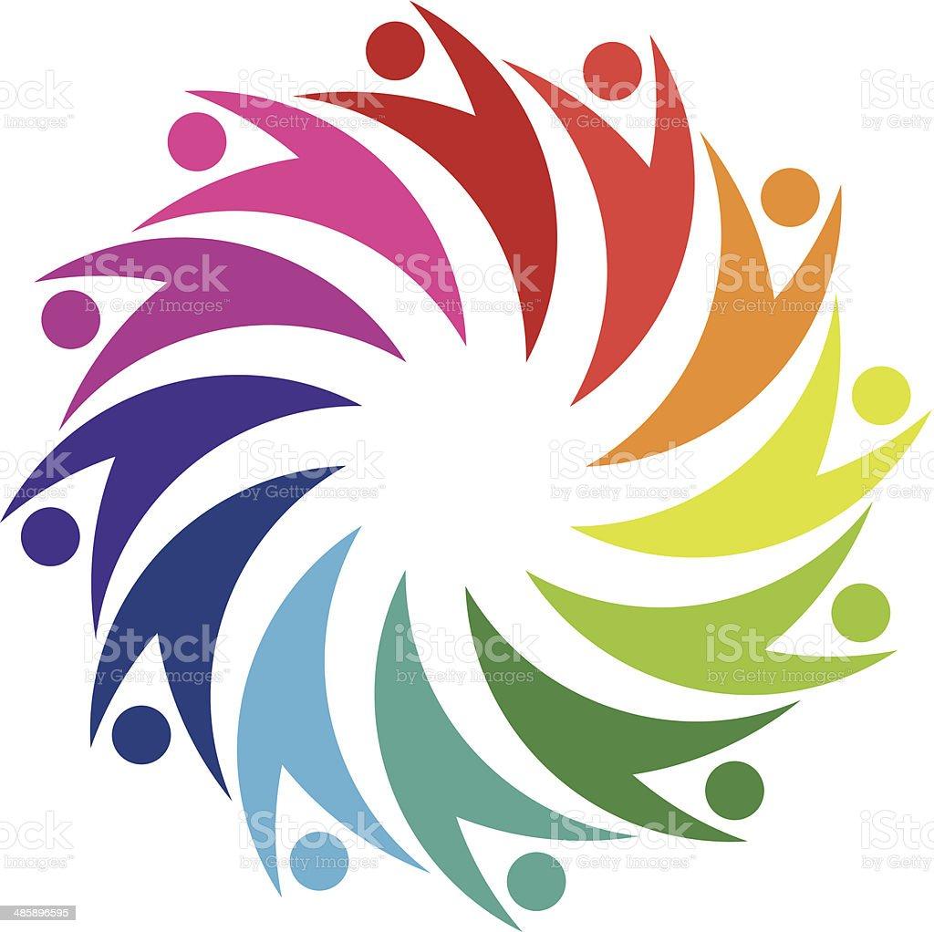 Social friendship circle in hug partnership logo icon vector art illustration