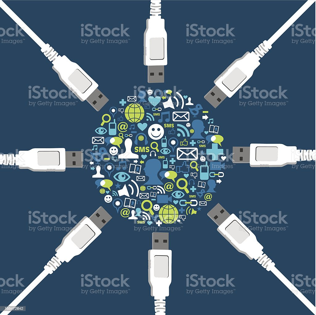 Social icon set circle shape surrounded by USB wires vector art illustration
