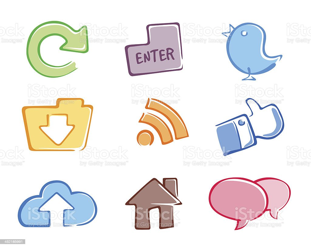 Social Icon Set Full Color royalty-free stock vector art