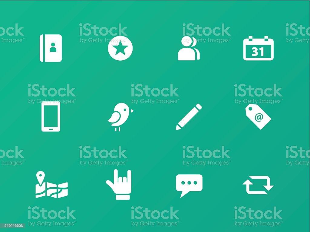 Social icons on green background. vector art illustration