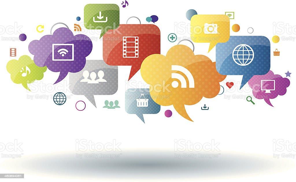 Social media and internet business vector art illustration