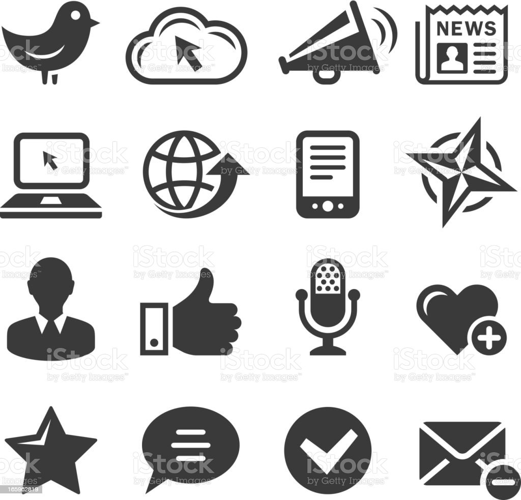 Social media and internet communications black & white icon set royalty-free stock vector art