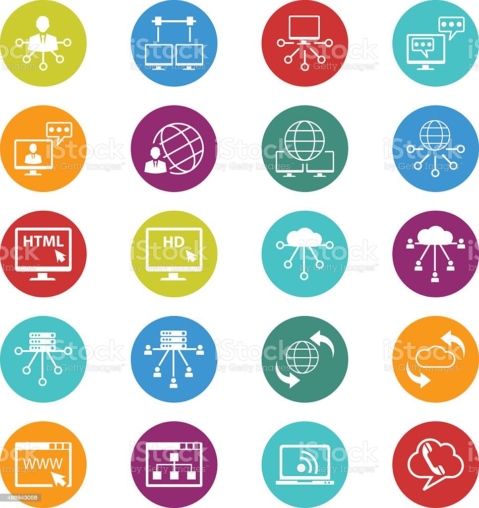 Social media and network icons set vector art illustration