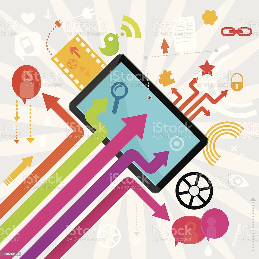 Social Media And PC Tablet Design royalty-free stock vector art