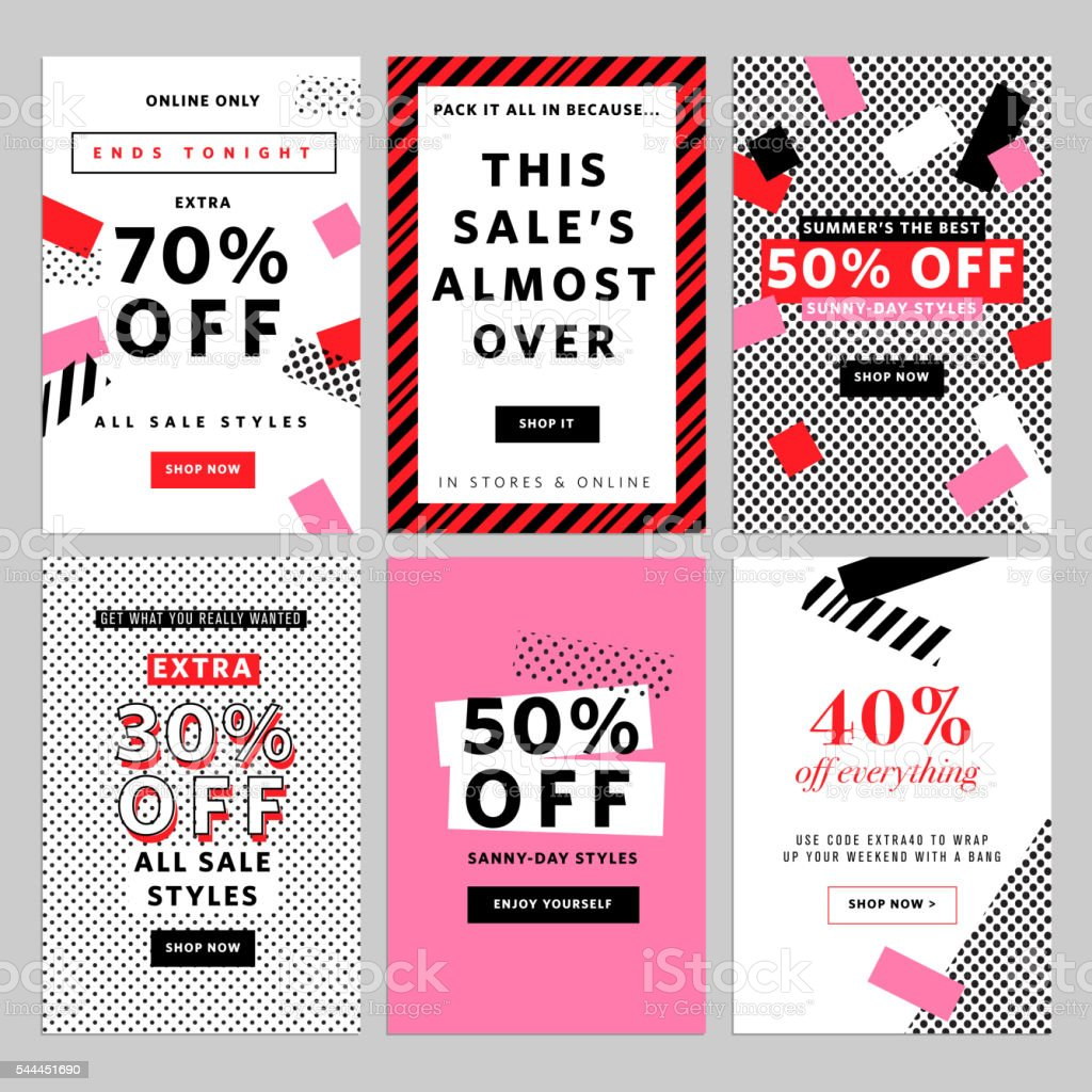 Social media banners for online shopping vector art illustration