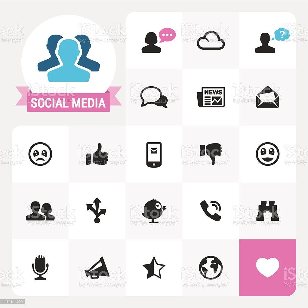Social Media base vector icons and label vector art illustration