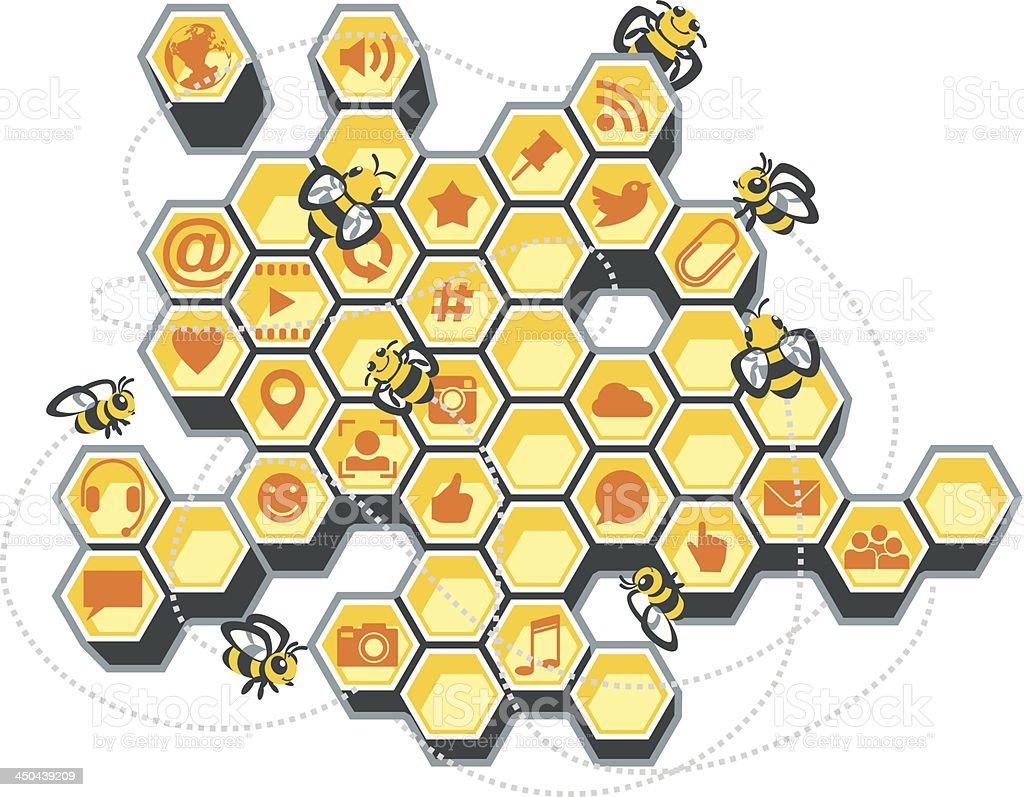 Social Media Bee Hive vector art illustration