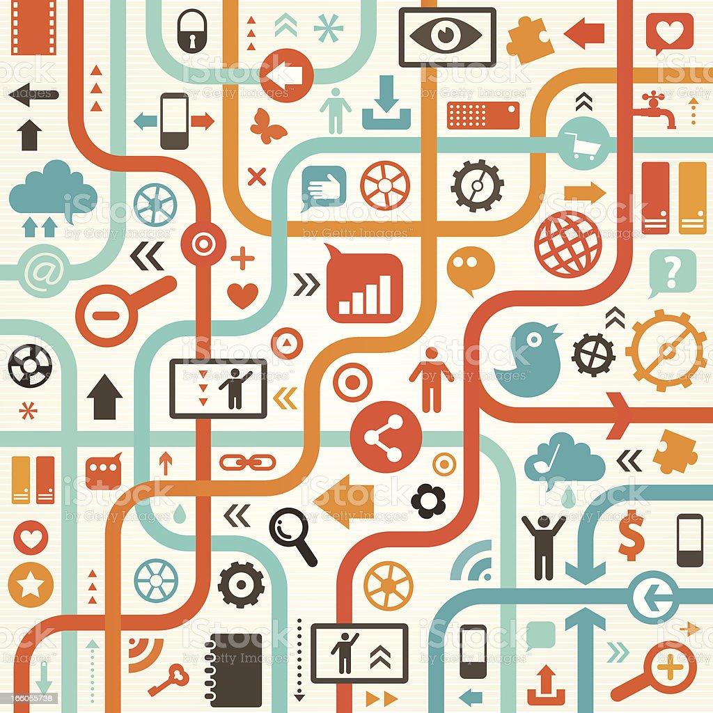 Social Media Blue Orange Design royalty-free stock vector art