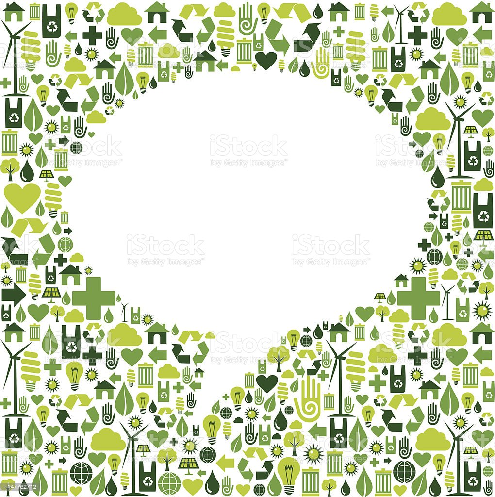 Social media bubble shape with eco icons background royalty-free stock vector art