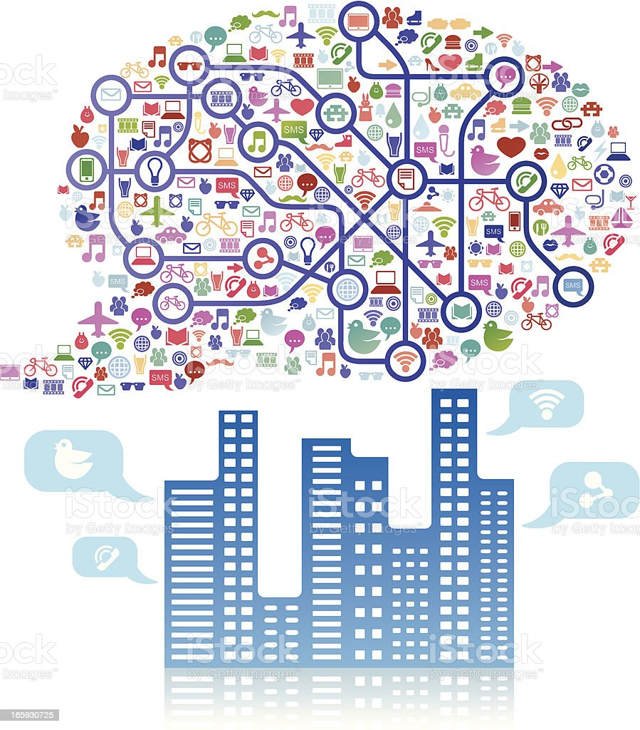 Social media cloud speech bubble above a city royalty-free stock vector art