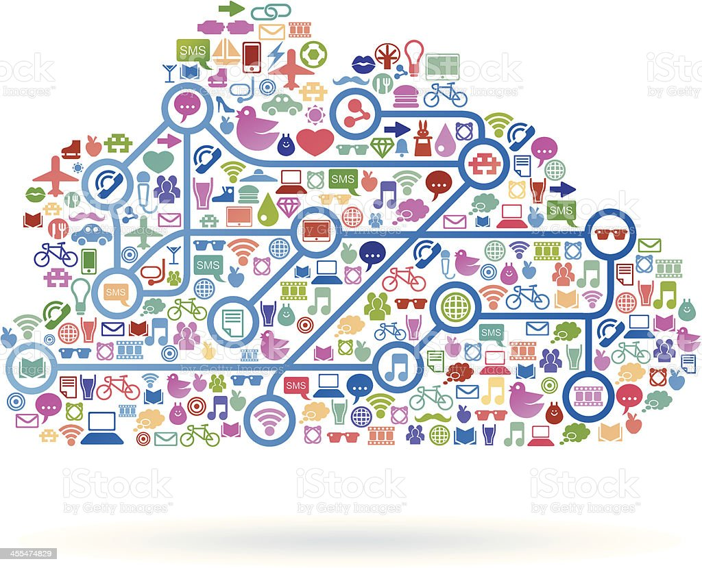 Social media cloud royalty-free stock vector art