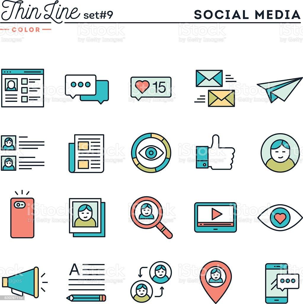 Social media, communication, personal profile, online posting and more vector art illustration