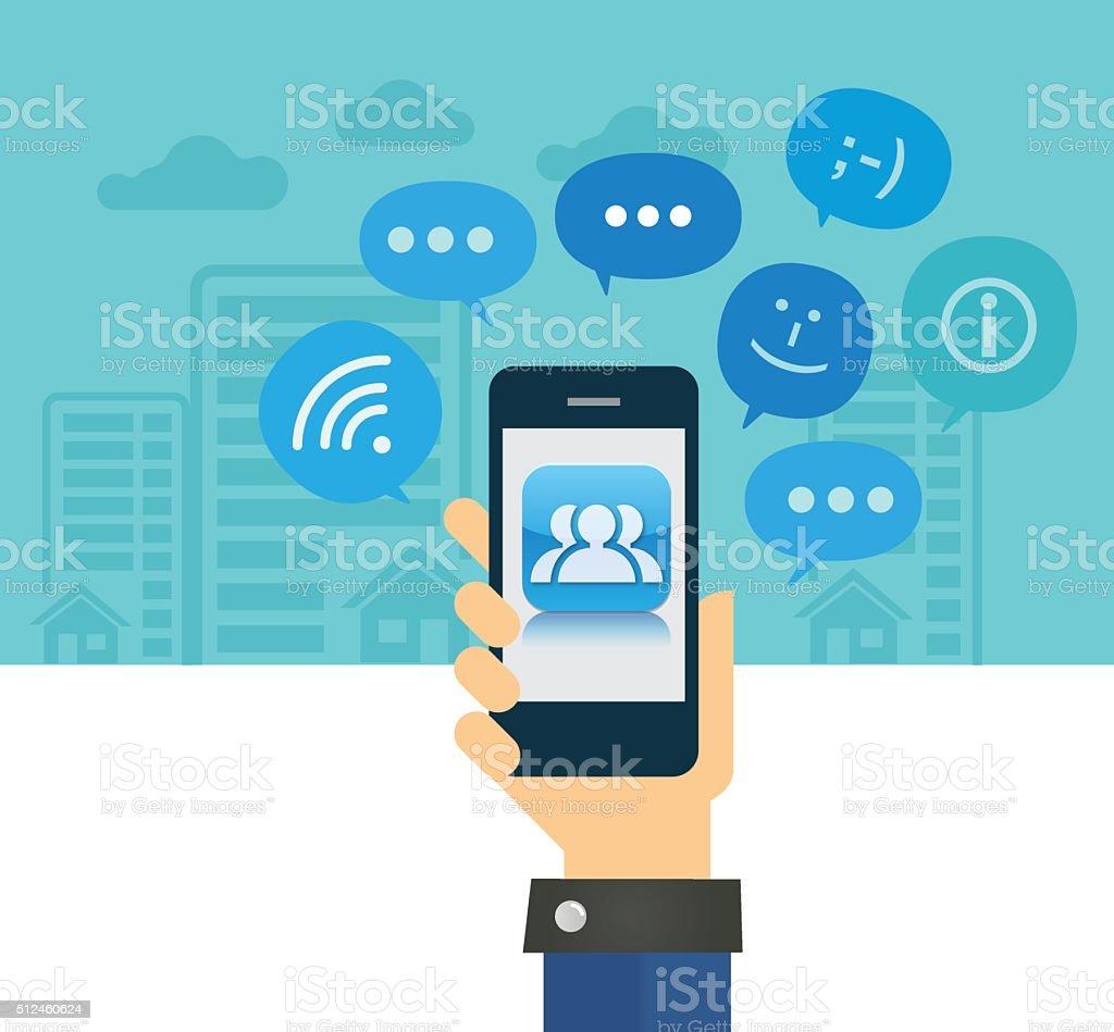 Social Media Concept vector art illustration