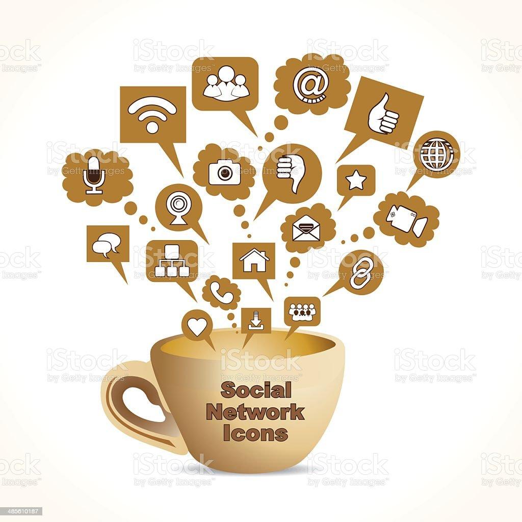 social media concept with coffee mug royalty-free stock vector art
