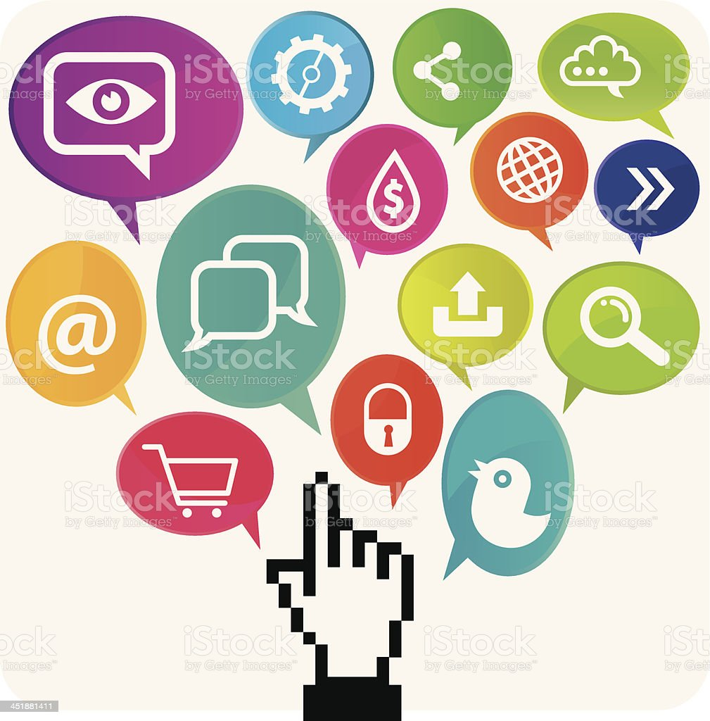 Social Media Cursor Hand Concept royalty-free stock vector art