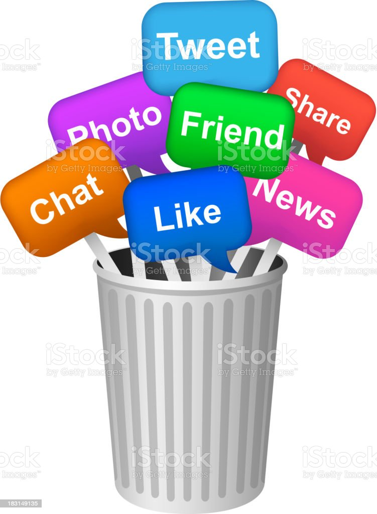 Social Media Dialogue Bubble Apps in Trash Can vector art illustration
