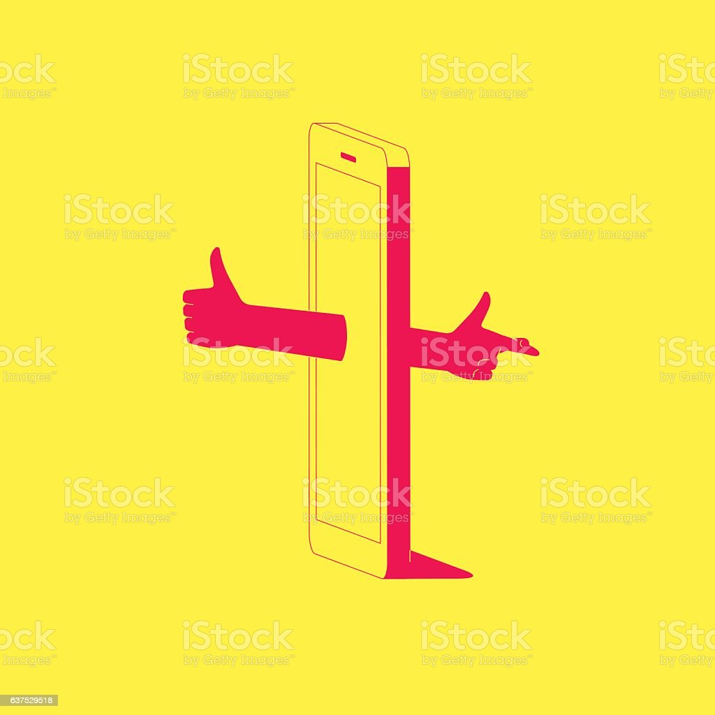 Social media dishonesty. vector art illustration