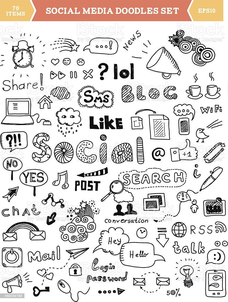 Social media doodle elements set royalty-free stock vector art
