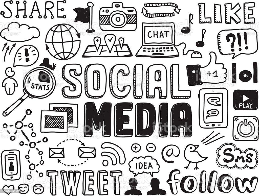 Social media doodles elements vector art illustration