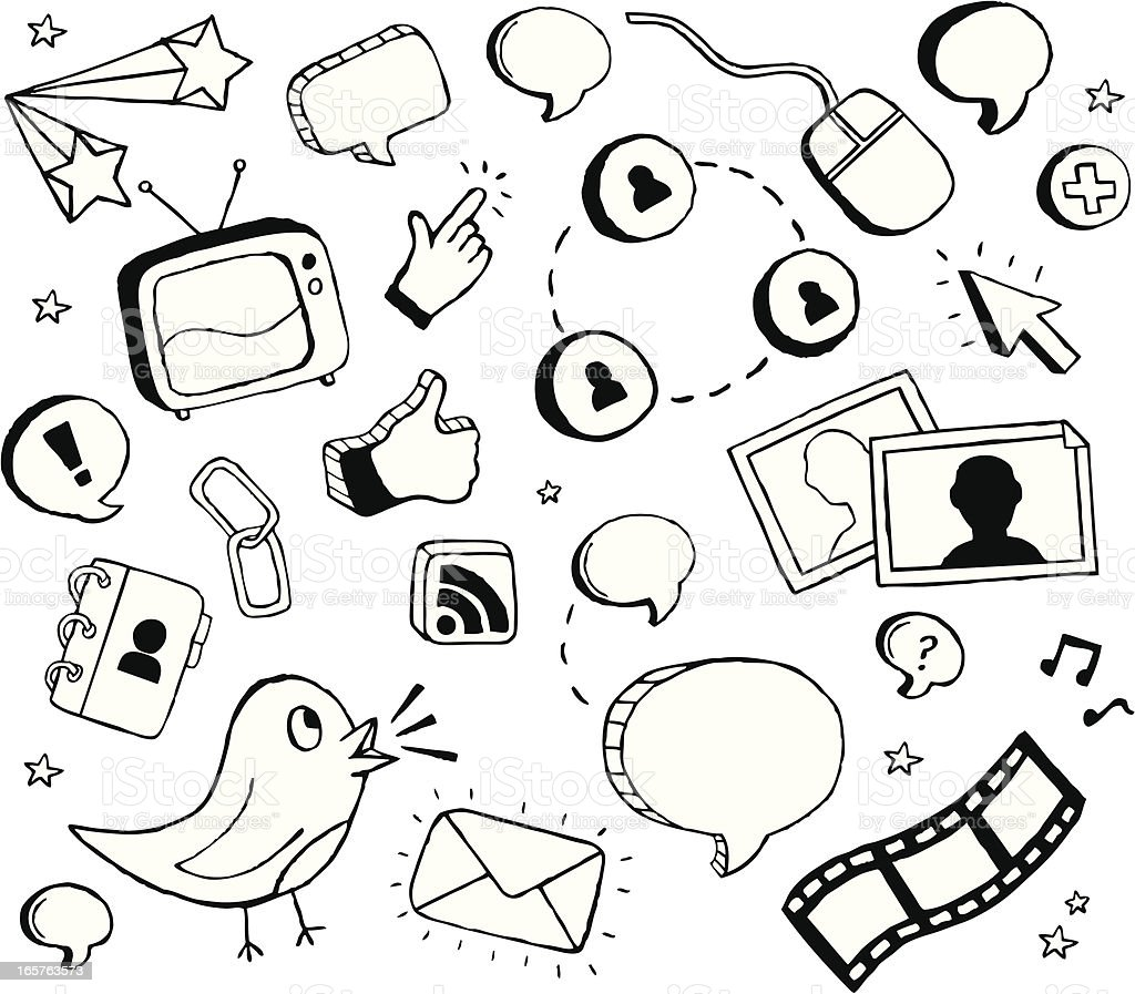 Social Media Doodles royalty-free stock vector art