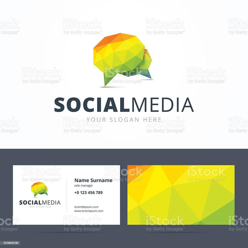 Social media emblem and business card template. vector art illustration