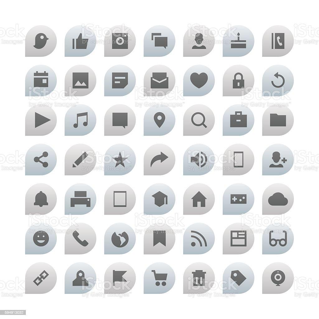 Social Media Essential Icons vector art illustration