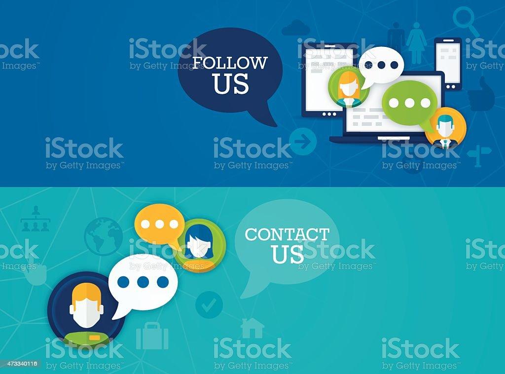 Social Media Follow Us Contact Us Banners vector art illustration