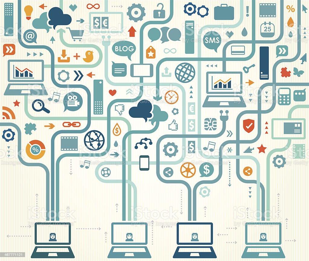 Social Media Gathering vector art illustration
