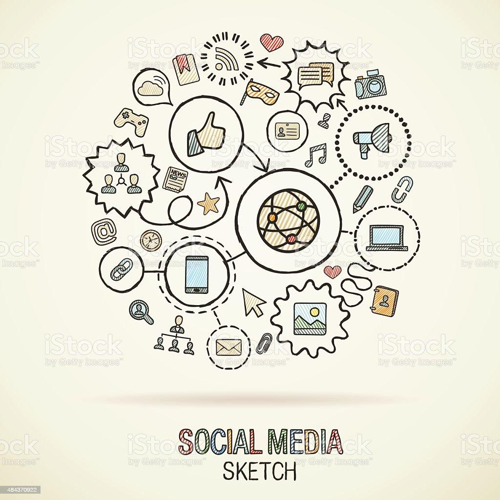 M O Desenhar Conectado M Dia Social Desenho De Cones