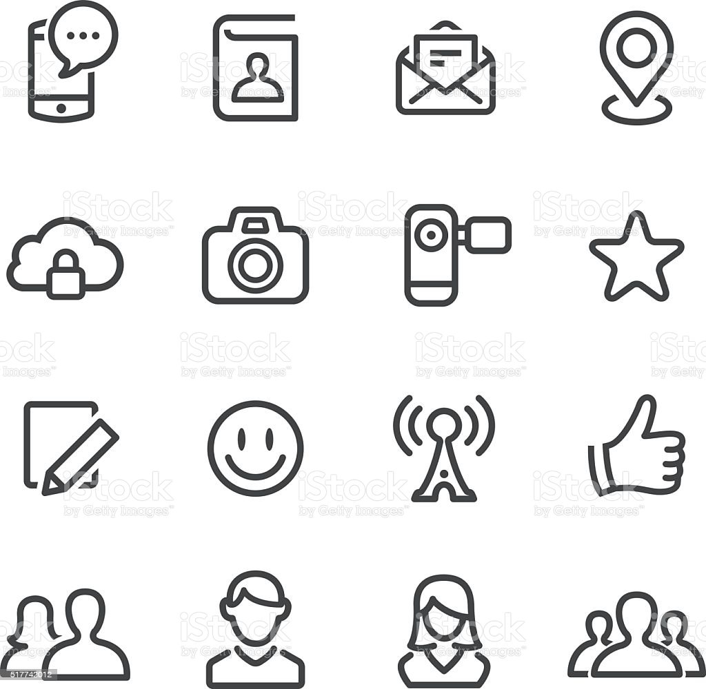 Social Media Icon Set - Line Series vector art illustration