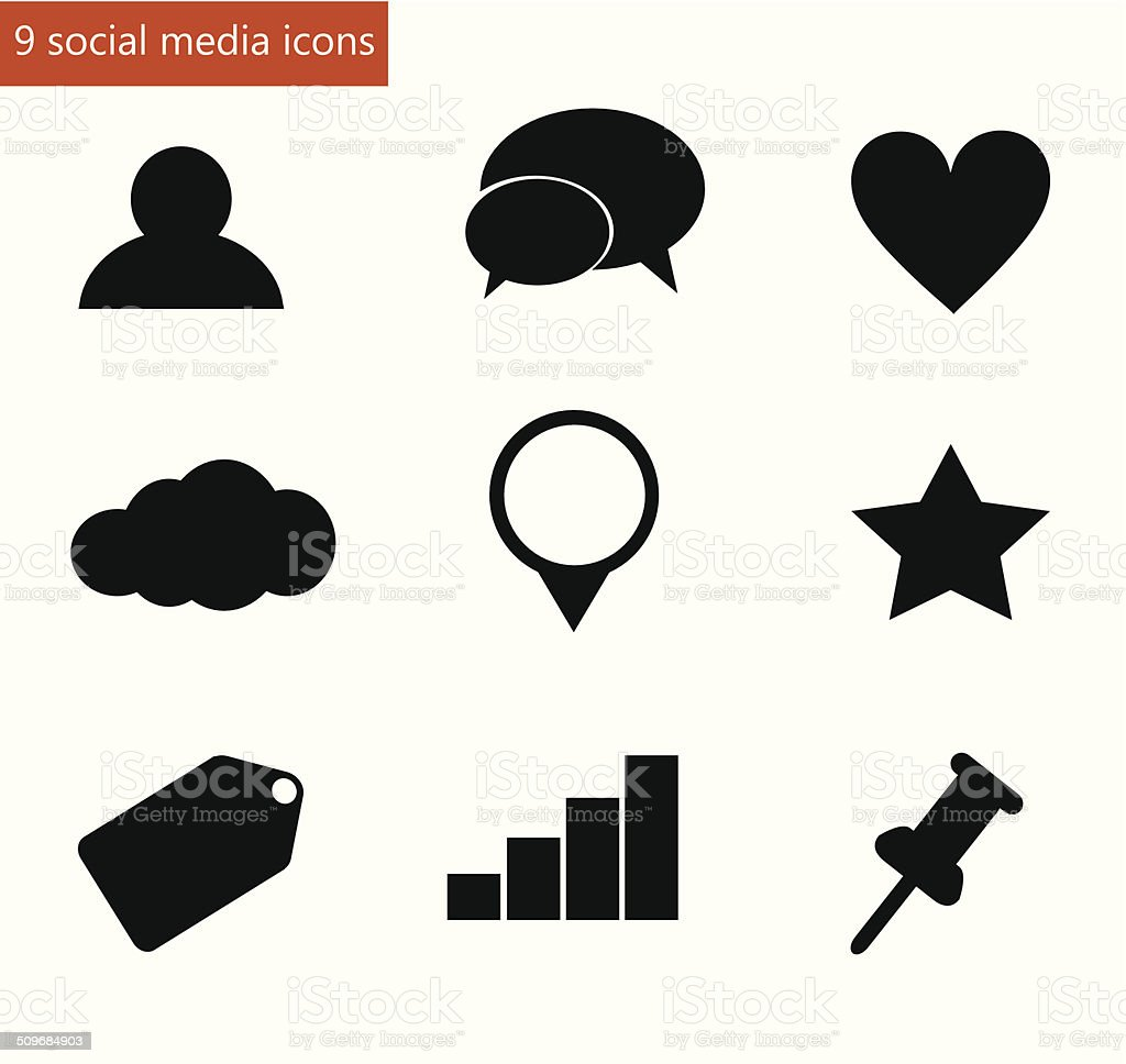 Social media icon set vector vector art illustration