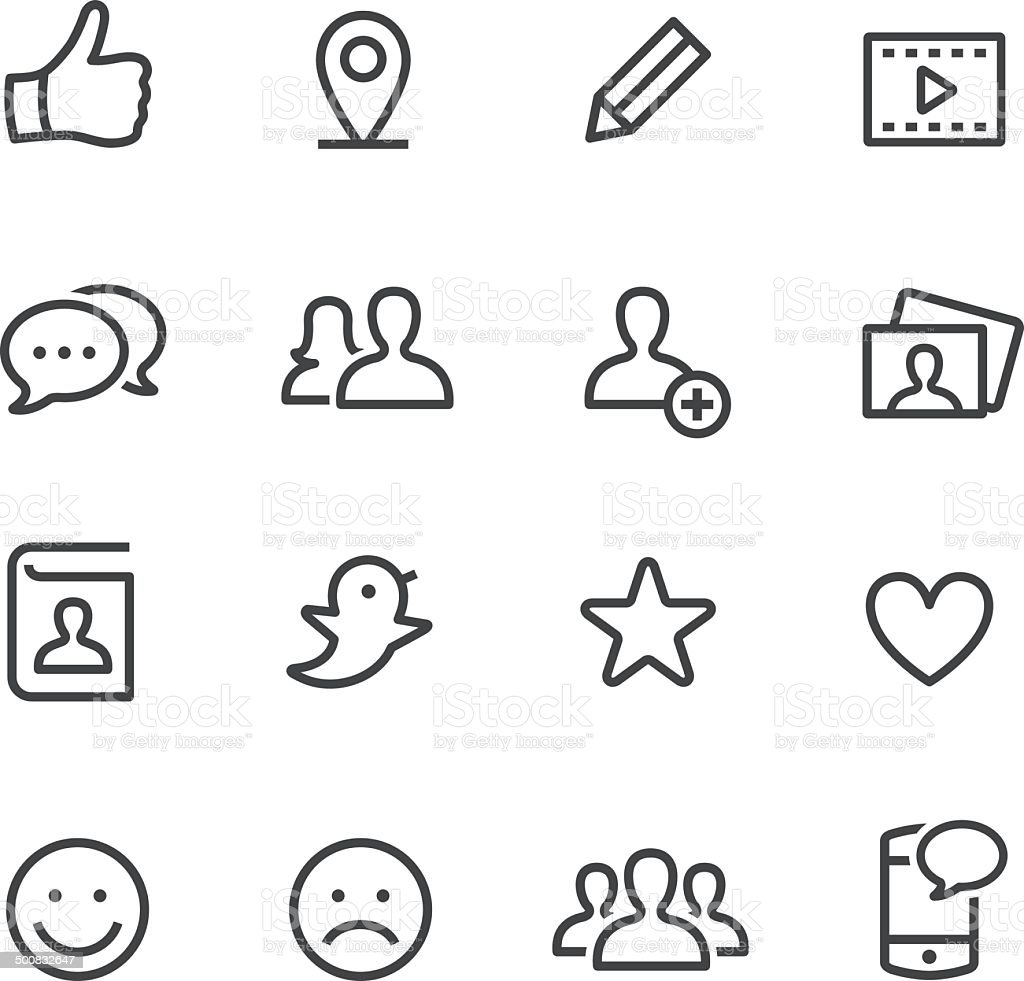 Social Media Icons - Line Series vector art illustration
