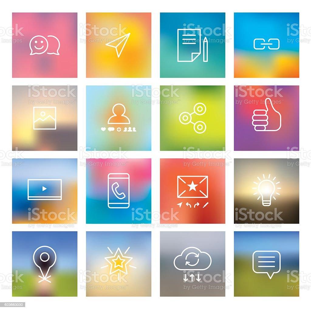 Social Media Icons On Blurred Backgrounds vector art illustration